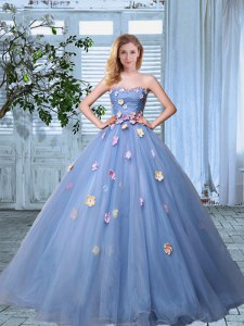 Simple Organza Sweetheart Sleeveless Lace Up Appliques 15 Quinceanera Dress in Lavender
