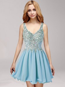 Glittering Light Blue Side Zipper Straps Beading and Ruching Prom Gown Chiffon Sleeveless