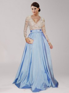 Light Blue Zipper Dress for Prom Beading and Belt Long Sleeves Floor Length
