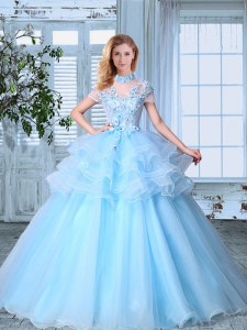 Fabulous SeeThrough Light Blue Short Sleeves Floor Length Appliques and Ruffled Layers Lace Up Quince Ball Gowns