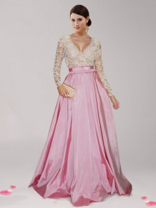 Excellent Pink And White V-neck Neckline Beading and Belt Evening Dress Long Sleeves Zipper