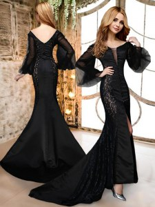 Suitable Mermaid Black V-neck Zipper Lace Prom Evening Gown Brush Train Long Sleeves