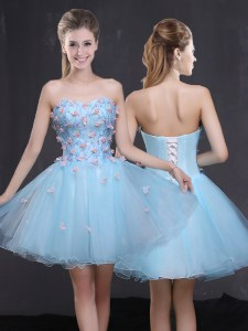 Custom Made Mini Length Light Blue Organza Sleeveless Appliques