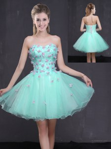 Admirable Apple Green Lace Up Sweetheart Appliques Dress for Prom Organza Sleeveless