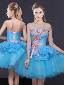 A-line Dress for Prom Blue Strapless Tulle Sleeveless Mini Length Lace Up