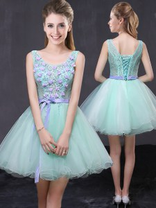 Edgy Scoop Apple Green A-line Lace and Hand Made Flower Dress for Prom Lace Up Organza Sleeveless Mini Length
