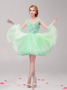Noble Apple Green A-line Tulle Halter Top Sleeveless Ruffles and Hand Made Flower Mini Length Backless Dress for Prom