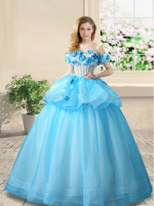 Baby Blue Off The Shoulder Lace Up Beading and Appliques Quinceanera Dresses Sleeveless