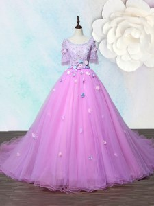 Scoop With Train A-line Half Sleeves Lilac Prom Evening Gown Court Train Lace Up
