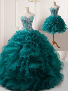 Classical Sleeveless Floor Length Beading and Ruffles Lace Up Dress for Prom with Peacock Green