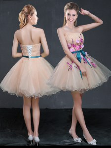 Peach A-line Strapless Sleeveless Organza Mini Length Lace Up Appliques and Belt Homecoming Dress