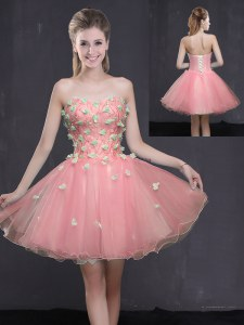 Artistic Pink A-line Appliques Prom Gown Lace Up Organza Sleeveless Mini Length