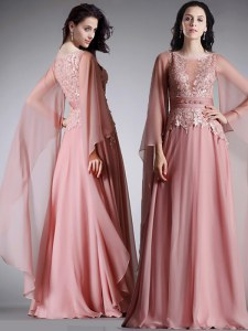 Vintage Scoop Floor Length Pink Prom Evening Gown Chiffon 3 4 Length Sleeve Lace and Belt
