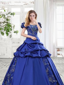 Royal Blue Quinceanera Gown Prom and For with Appliques and Pick Ups and Bowknot Off The Shoulder Cap Sleeves Lace Up