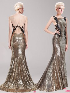 Charming Brown Mermaid Sequined Square Sleeveless Appliques and Sequins With Train Clasp Handle Prom Dresses Brush Train