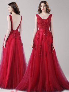 Wine Red A-line Tulle Straps Sleeveless Beading and Appliques and Belt Floor Length Backless Prom Dresses