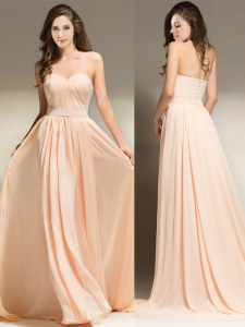 Peach Prom Dresses Prom and For with Belt Sweetheart Sleeveless Brush Train Clasp Handle