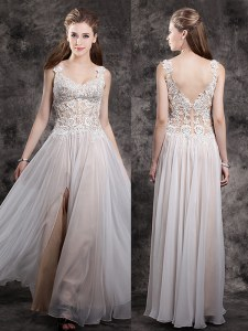 Fitting Champagne Dress for Prom Prom and For with Appliques Straps Sleeveless Zipper