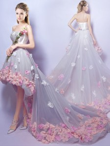 High Class Grey A-line Sweetheart Sleeveless Tulle High Low Lace Up Appliques Prom Evening Gown