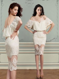 Off the Shoulder Short Sleeves Knee Length Lace Backless with Champagne