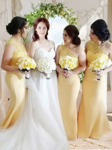 High End One Shoulder Sleeveless Zipper Homecoming Dress Yellow Satin