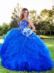 Modern Floor Length Lace Up Quinceanera Gowns Royal Blue for Prom with Beading and Ruffles