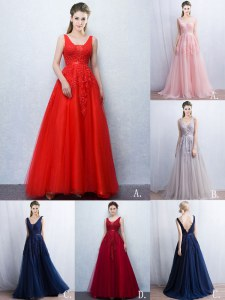 Elegant Red Sleeveless Tulle Brush Train Backless Evening Dress for Prom