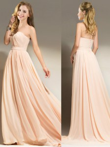 Lovely Peach Chiffon Clasp Handle Sleeveless With Brush Train Belt