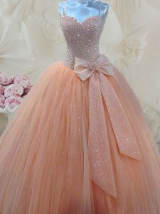 Edgy Tulle Spaghetti Straps Sleeveless Lace Up Beading and Bowknot Prom Party Dress in Peach