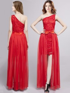 Chic One Shoulder Sleeveless Tulle and Lace Floor Length Zipper Evening Gowns in Red with Lace and Bowknot