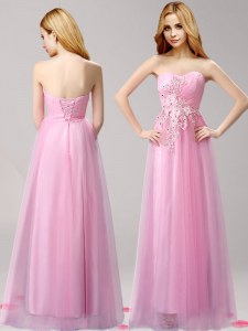 Fine Sleeveless Tulle Floor Length Lace Up in Rose Pink with Beading and Appliques