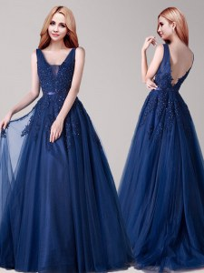 Floor Length A-line Sleeveless Navy Blue Prom Dress Backless