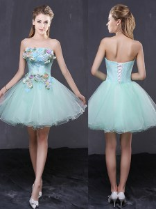 Graceful A-line Cocktail Dress Apple Green Strapless Organza Sleeveless Mini Length Lace Up