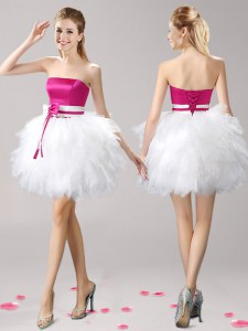 Dynamic Mini Length Pink And White Club Wear Strapless Sleeveless Lace Up