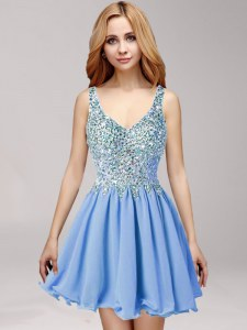 Blue Chiffon Criss Cross Straps Sleeveless Mini Length Prom Dress Beading and Ruffles