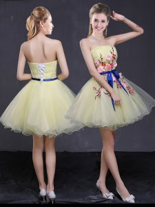 Enchanting Mini Length Light Yellow Strapless Sleeveless Lace Up