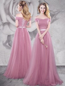 Tulle Off The Shoulder Short Sleeves Brush Train Lace Up Ruching and Belt Prom Dresses in Pink
