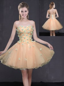 Smart Organza Sleeveless Mini Length Dress for Prom and Appliques