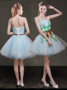 Smart A-line Prom Party Dress Light Blue Strapless Organza Sleeveless Mini Length Lace Up