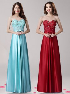Sleeveless Floor Length Beading and Appliques and Bowknot Zipper Prom Evening Gown with Aqua Blue