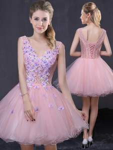 Perfect Organza V-neck Sleeveless Lace Up Hand Made Flower Prom Party Dress in Pink