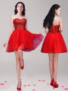 Glittering Beading Prom Party Dress Red Lace Up Sleeveless Mini Length