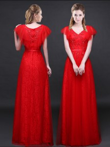 Sumptuous Floor Length Red Tulle and Lace Short Sleeves Appliques and Belt