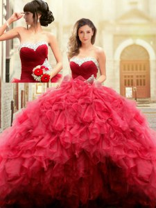 Tulle Sweetheart Sleeveless Lace Up Beading and Ruffles Vestidos de Quinceanera in Red