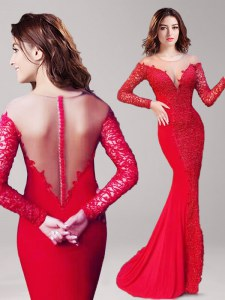 Fantastic Mermaid Scoop Long Sleeves With Train Clasp Handle Prom Dress Red for Prom with Lace Brush Train