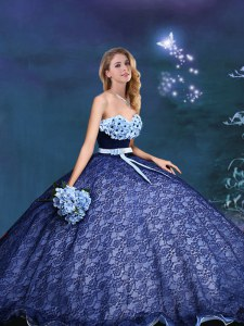 Sleeveless Lace Up Appliques and Bowknot Ball Gown Prom Dress