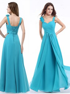 Aqua Blue Empire Straps Sleeveless Chiffon Floor Length Lace Up Ruching Prom Evening Gown