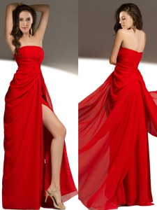 High End Red Prom Dresses Prom and For with Ruching Strapless Sleeveless Zipper