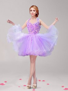 A-line Prom Dresses Lavender Halter Top Tulle Sleeveless Mini Length Backless