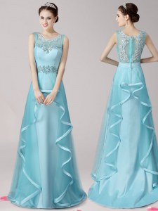 Aqua Blue Zipper Scoop Appliques and Ruffles Homecoming Dress Satin and Tulle Sleeveless Brush Train